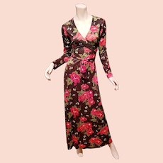 Vtg 1950's Boho Chic Maxi floral printed dress metal zipper cross over belt