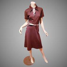 Vtg Bleeker Street/Jonathan Logan cocoa jumper zip front dress checks belt scarf buttons
