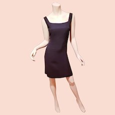 Vtg Max Mara Italy Sportmax Classic black dress square neck