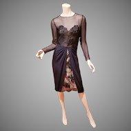Bill Blass Couture Lace layered chiffon illusion dress Neiman Marcus