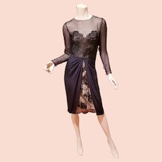 Bill Blass Couture Lace layered chiffon illusion dress Neiman Marcus
