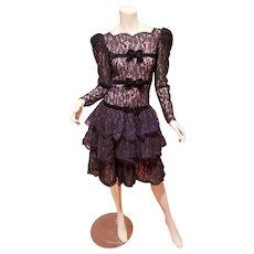Oscar de La Renta Miss O Lace tiered ruffled dress velour bow details