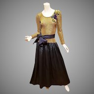 Bill Blass Couture Vintage Gold Lame' Shantung formal maxi gown Embellished w/belt