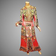 Vtg Lucie Ann Couture Beverly Hills For Elizabeth Arden Paris Gold Embellished gown