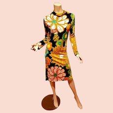 Jeanne Lanvin Boutique Paris Floral 1950's Couture cocktail dress