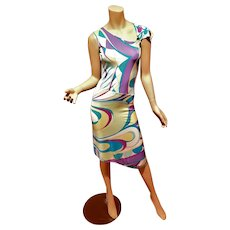 Vtg Emilio Pucci signed Asymmetrical abstract purple blue Geometric dress size 6