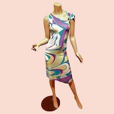 Vtg Emilio Pucci signed Asymmetrical abstract purple blue Geometric dress size 6