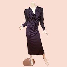 Oscar de la Renta draped rhinestone 1970's dress
