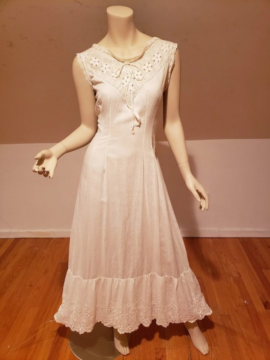 Antique 1890's hand embroidered lace under dress