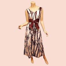 Vtg Ruth Clarage hand printed bamboo 1960 original maxi dress Montego Bay Kingston