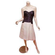 Carolina Herrera silk Organza black/cream cocktail dress