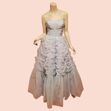 Vtg strapless 1950's baby blue ruched gown with crinoline metal zipper