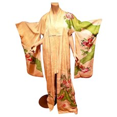 Antique Embroidered silk Japanese Kimono 1910-20 large