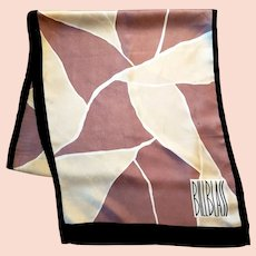 Vtg Bill Blass Iconic 1950s silk Hand Rolled signed long Scarf