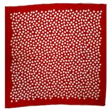 Vtg silk Red/White Polka dots Hand rolled large scarf