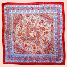 Vtg Paisley Aztec stone dyed hand rolled silk scarf