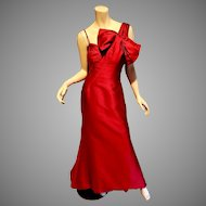 Rose Taft silk Couture Red Asymmetric bow neck formal vtg Gown