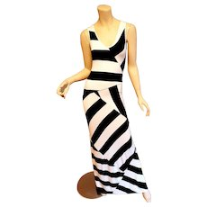 Vtg Black & White striped body con maxi dress panels