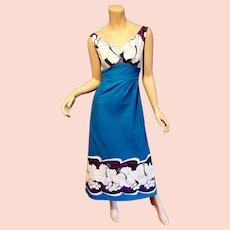 Vtg Polynesian 1960's Bark cloth  Maxi dress Waikiki Hawaii
