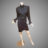 Vtg Thierry Mugler Paris Avant Garde couture Dress amazing details and belt