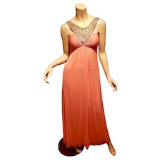 Vtg Cache' Rhinestone beaded Grecian pleated peach maxi dress