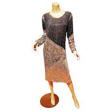 Flapper midi silk vintage dress silver Sequined on black chiffon