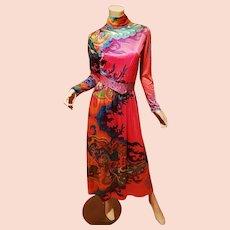 Hobo Chic Stunner maxi Colorful dress rhinestone belt