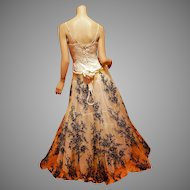 Couture Ines Di Santo special order silk embroidered on tulle gown