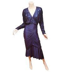Lillie Rubin vintage ruched sequined draped gown blue Azul