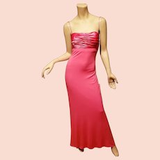 Lord & Taylor vtg Cerise maxi gown open back bar details body con Vamp