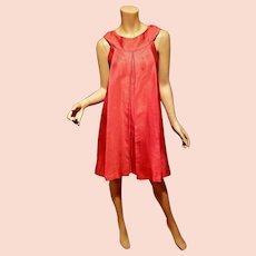 Vtg Trapeze orange/red raw silk sleeveless dress w/pleats