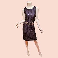 Vtg Moschino cheapandchic embellished silk sheath dress size-vtg-14