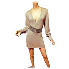 Vtg Lurex V neck knit sweater dress or tunic