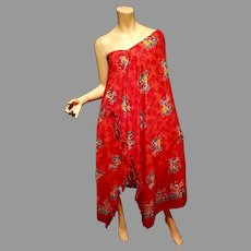 Vtg Stone Dyed red Pareo Shawl dress with fringes