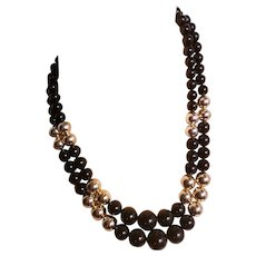 Vtg 1940 Celluloid 2 strand necklace black and gold tone Filigree clasp