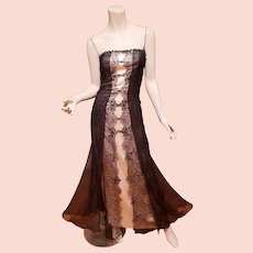 Couture Joanna Mastroianni silk lace and bead bias fluid Gown