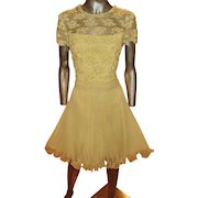 Vtg Jack Bryan 1960 Beaded Lace Pencil Pleats Chiffon Fluid Dress Sash Hong Kong