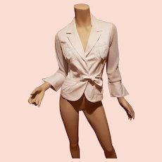 Anne Fontaine Paris Tie Shirt/Jacket crisp cotton thick net /pockets