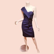 Mieka Couture Navy one shoulder dress black 3D flowers side detail