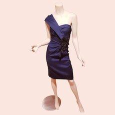 Mieka Couture Navy one shoulder dress black 3D flowers side detail