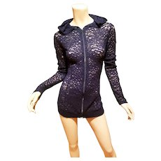 Anatomie blue French lace zip Tunic top with hood
