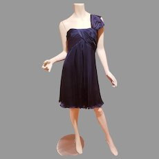 Empire Draped one shoulder blue raw silk fluid Cocktail dress Kay Unger