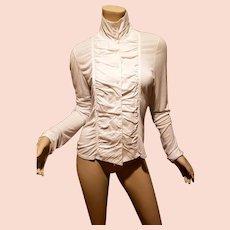 Laundry by Shelli Segal woven crisp cotton/knit viscose Shirred blouse high collar