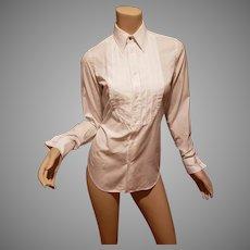 Ralph Lauren Iconic Bib Tuxedo crisp white shirt with double pleat hem sleeve and special macrame button