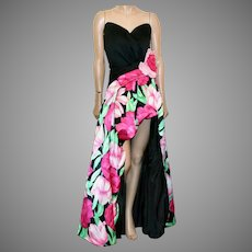 Victor Costa Fantasy open front Hostess Floral gown strapless