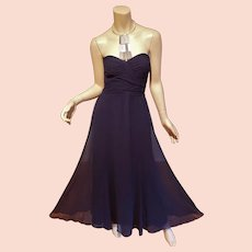 Ralph Lauren Navy Strapless w/metal Collar Georgette evening gown