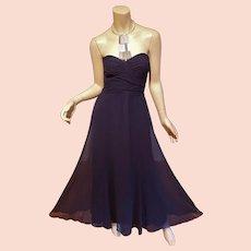 Ralph Lauren Navy Strapless w/metal Collar Georgette evening gown