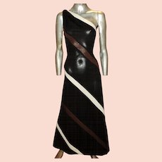 Vtg 1960 one Shoulder Maxi Dress Jersey Knit- Poly Brown White Stripes Ayres Unlimited