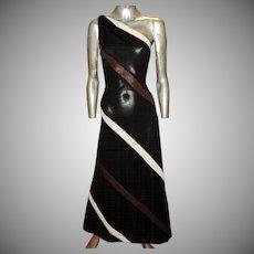 Vtg 1960 one Shoulder Maxi Dress Jersey Knit- Poly Brown White Stripes Ayres Unlimited