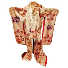 Japanese Uchikake 1920's Wedding silk Kimono gold floral embroidery hand sewn
